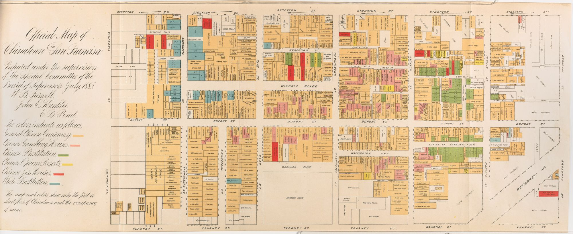 An official map of Chinatown from 1885 shows the color coded areas of prostitution and opium use.